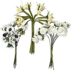 Kunststof bloemen wit