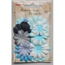 Papieren bloemen Lightblue