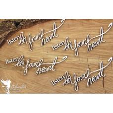 Chipboard tekst Listen to your heart