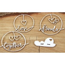 Chipboard clouded hearts - Together