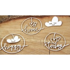 Chipboard clouded hearts - Happy