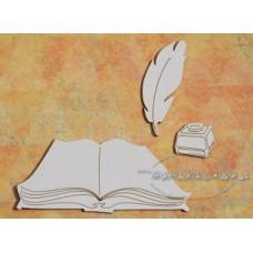 Chipboard Boek met inktpot en veer