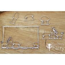 Chipboard Fairy - rechthoekig frame met paddestoelen