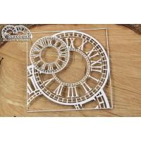 Chipboard Wonderland - klokken in vierkant frame