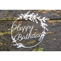Chipboard tekst Happy Birthday in frame 1