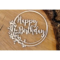 Chipboard tekst Happy Birthday in frame 2