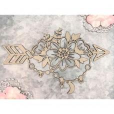 Chipboard Boho floral arrow