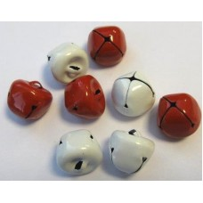 Belletjes rood en wit - 15 mm