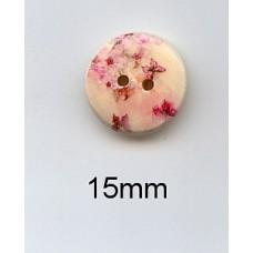 Houten knoop 15 mm bloemenprint