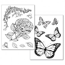 Transfervellen Roses and Butterfly