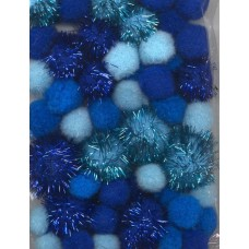 PomPoms blauw glitter