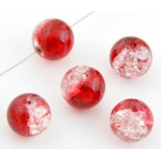 Glaskralen crackle rood 10 mm
