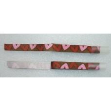 Decoratielint bruin met roze en rode harten