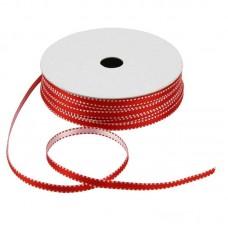 Satijnlint 4 mm rood-wit