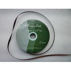Satijnlint 3 mm donkerbruin