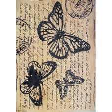 Rijstpapier A4 Butterfly with words