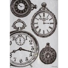 Rijstpapier A4 Black and white clocks