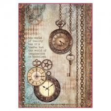 Rijstpapier A4 Clockwise Clock & Keys