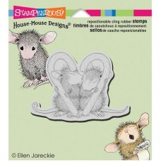 Clingstamp house mouse - Candy cane kiss