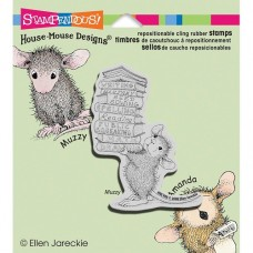 Clingstamp house mouse - Stack of Books